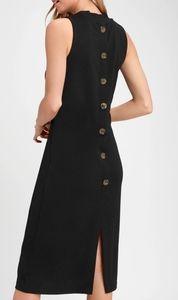 NWT Lulu's black mock neck button-back midi dress